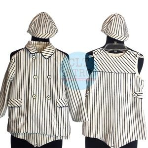 3 pc vtg Pinstripe Jumper Set